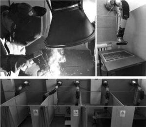 Нормалізація повітряного середовища виробничих майстерень і робочих місць забезпечується примусово витяжною вентиляцією для видалення шкідливих речовин безпосередньо з виробничої зони